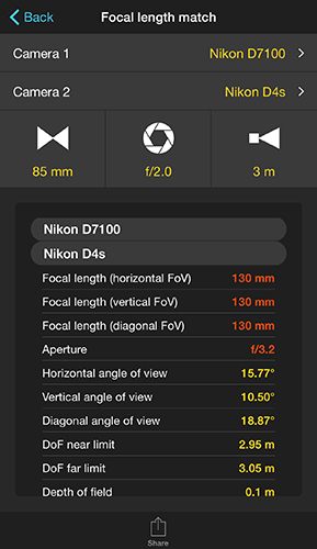 The Calculator Is Telling You That When Shooting With A Full Frame Camera Nikon D4s Need To Use 130mm Lens And An Aperture Of F 3 2 Have