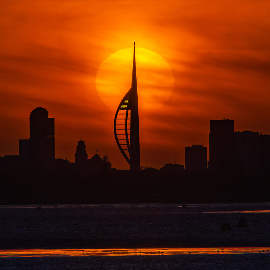 Portsmouth's Spinaker Tower at Sunset, taken from Hayling Island (UK) by Trevor Owen