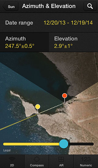 how to get an azimuth on a map